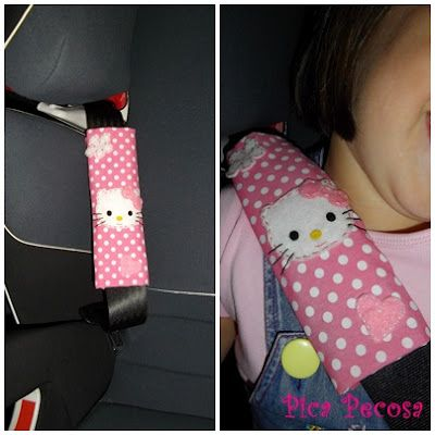 Seat belt Hello Kitty felt cover / Protector para el cinturón de seguridad del coche Hello Kitty de fieltro