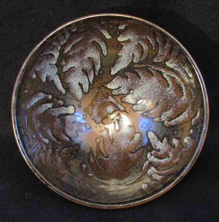 Silvery wax resist jun fern bowl