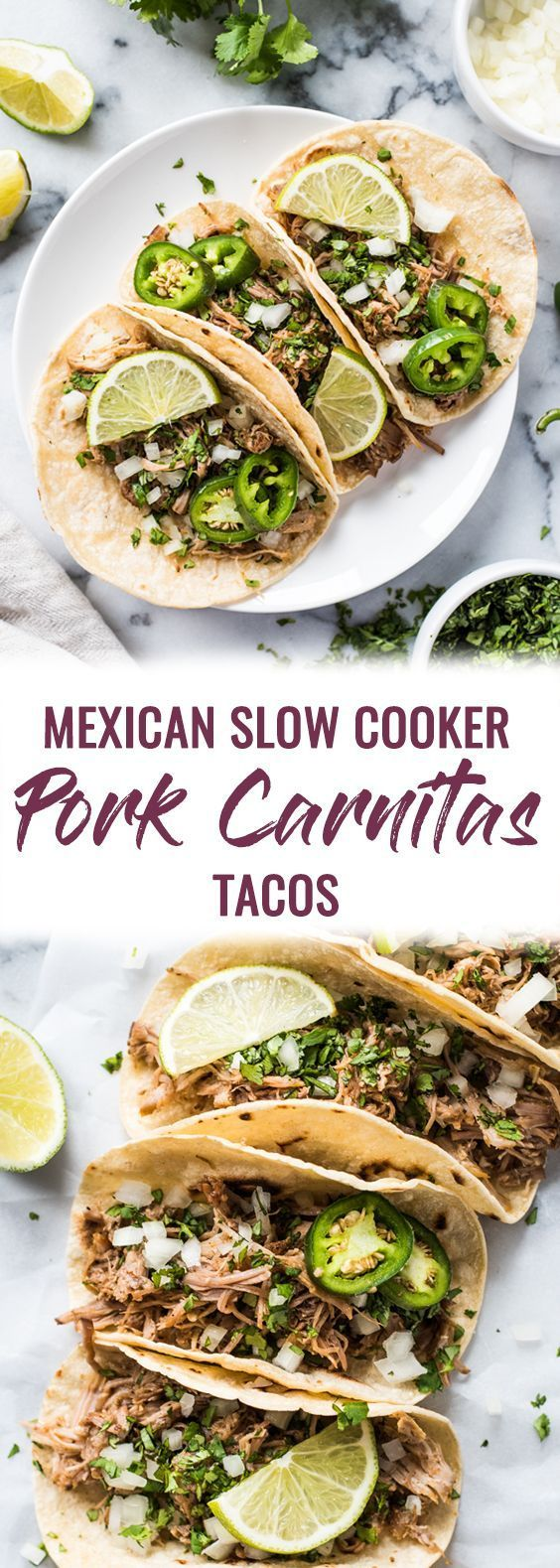 Mexican Slow Cooker Pork Carnitas Tacos ~ are seasoned with oregano, cumin, chili powder, lime juice and are the perfect dinner for any night of the week! (gluten free, dairy free, paleo, healthy, clean eating)