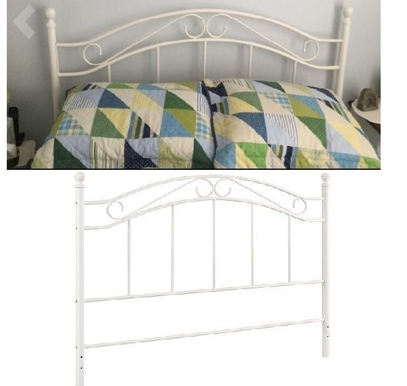 queen full size iron bed headboard metal adapter plates vintage scroll white - White Iron Bed Frame Queen