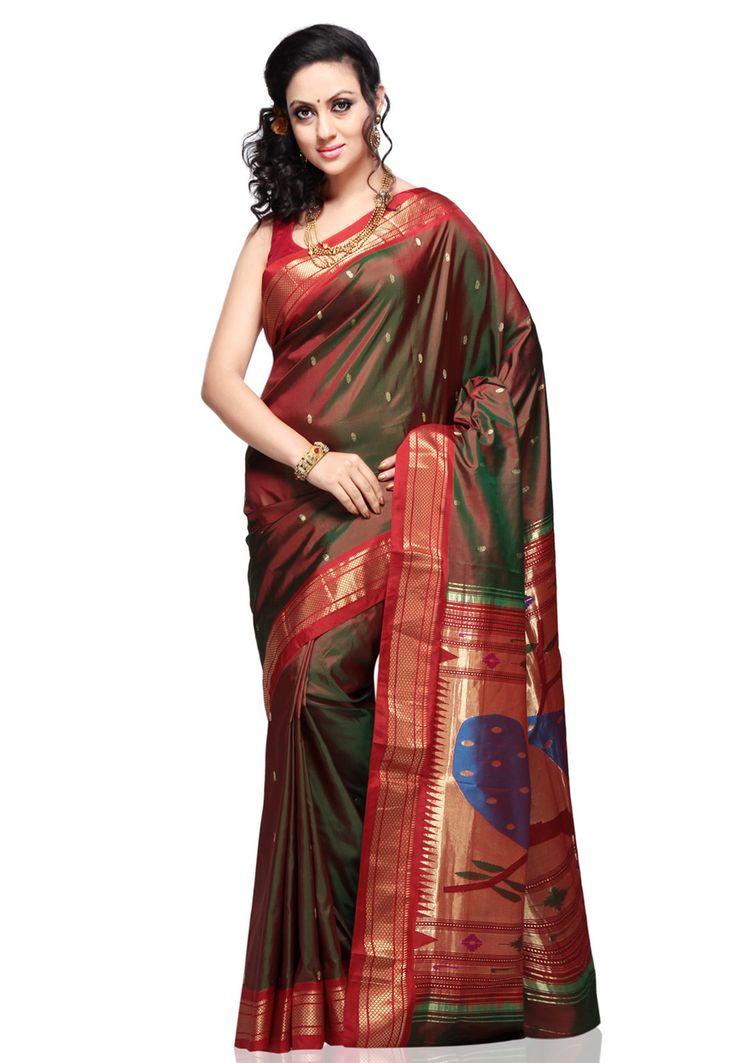 New design of paithani sarees, Paithani sarees online shopping, Paithani Silk Saree With Matching Blouse Piece for more info www.uppada.com