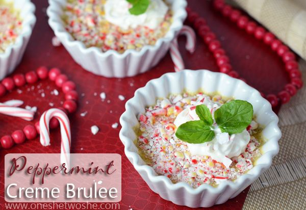 Peppermint Creme Brulee ~ The Perfect Christmas Dessert! www.oneshetwoshe.com