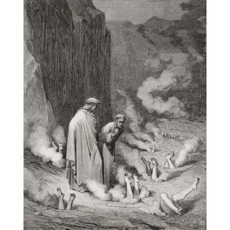 Engraving By Gustave Dore 1832-1883 French Artist And Illustrator For Inferno By Dante Alighieri Canto Xix Lines 10 And 11 Canvas Art - Ken Welsh Design Pics (13 x 16)