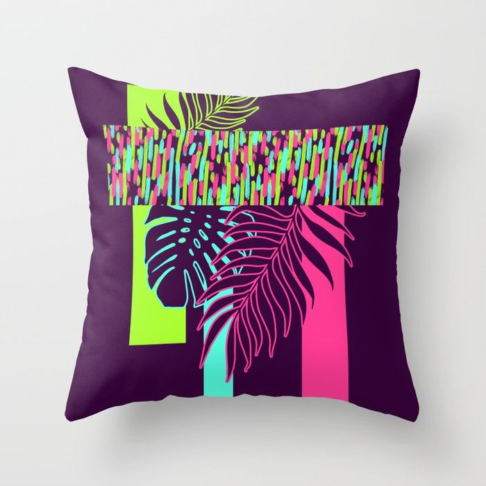 Neon Exotic #society6 #tropical Throw Pillow by designdn | | #S6GTP ~ Created by one of my friends at #Society6 -