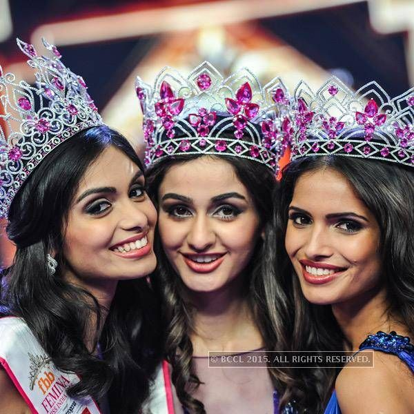 fbb Femina Miss India 2015 2nd runner up Vartika Singh, fbb Femina Miss India 2015 Aditi Arya, fbb Femina Miss India 2015 1st runner up Aafreen Rachel Vaz during the fbb Femina Miss India 2015, held at Yashraj Studios, in Mumbai, on March 28, 2015. (BCCL/Prathamesh Bandekar)See more of : Vartika Singh, Aditi Arya, Aafreen Rachel Vaz
