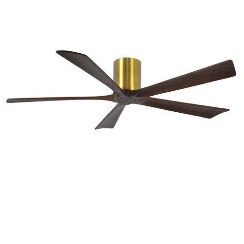 Irene H Five Blade Brushed Brass 60 Inch Hugger Style Ceiling Fan
