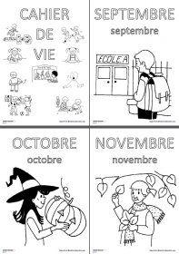 Affiches des mois pour le cahier de vie Une affiche à colorier chaque mois pour illustrer le cahier de vie en maternelle et marquer le début d'un nouveau mois avec les élèves.