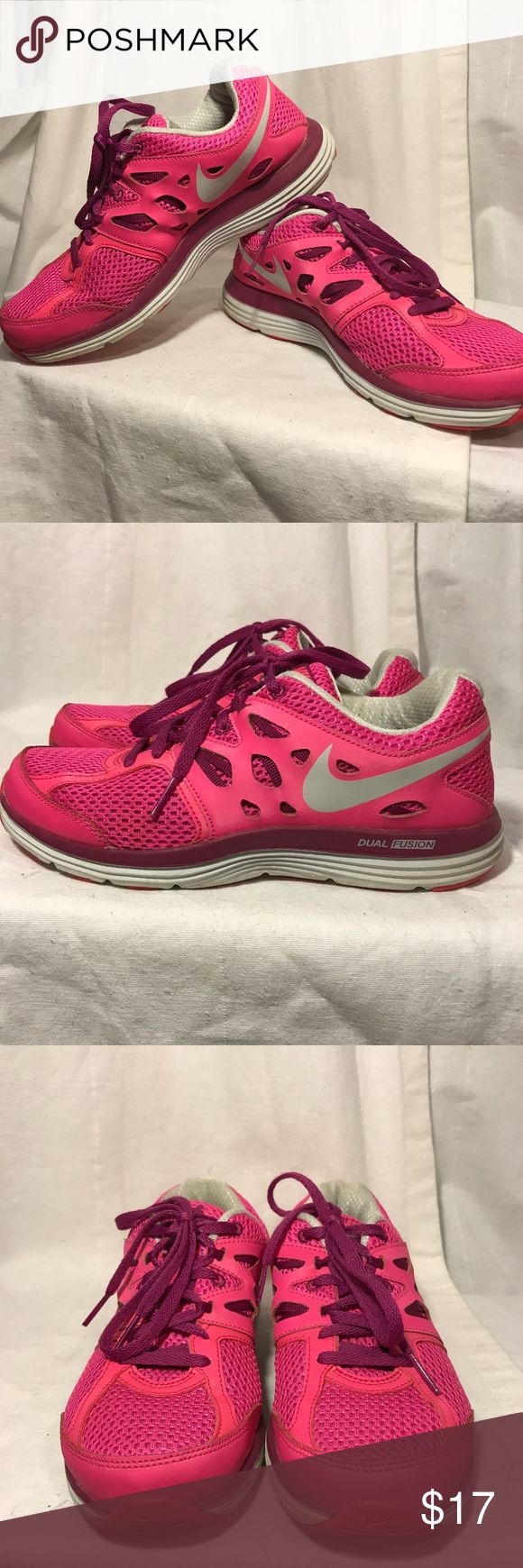 Nike Dual Fusion athletic Shoes Nike Dual Fusion Athletic shoes Size 6.5 excellent condition in hot pink. Feel free to ask any questions Nike Shoes Athletic Shoes