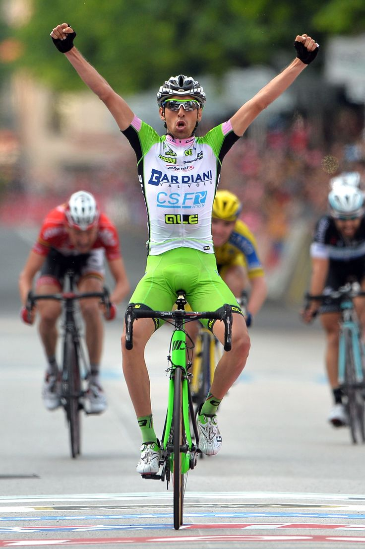 Pirazzi wins 17th Giro stage; Quintana keeps lead - Italy's Stefano Pirazzi celebrates as he crosses the finish line to win the 17th stage of the Giro d' Italia from Sarnonico to Vittorio Veneto, Italy, Wednesday, May 28, 2014. Stefano Pirazzi won the 17th stage of the Giro d'Italia on Wednesday, while Nairo Quintana retained the overall leader's pink jersey.  #Giro2014 #Stage17 #BardianiCSF #Pirazzi