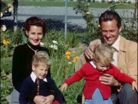 William Holden with wife Brenda Marshall, children Peter and Scott.