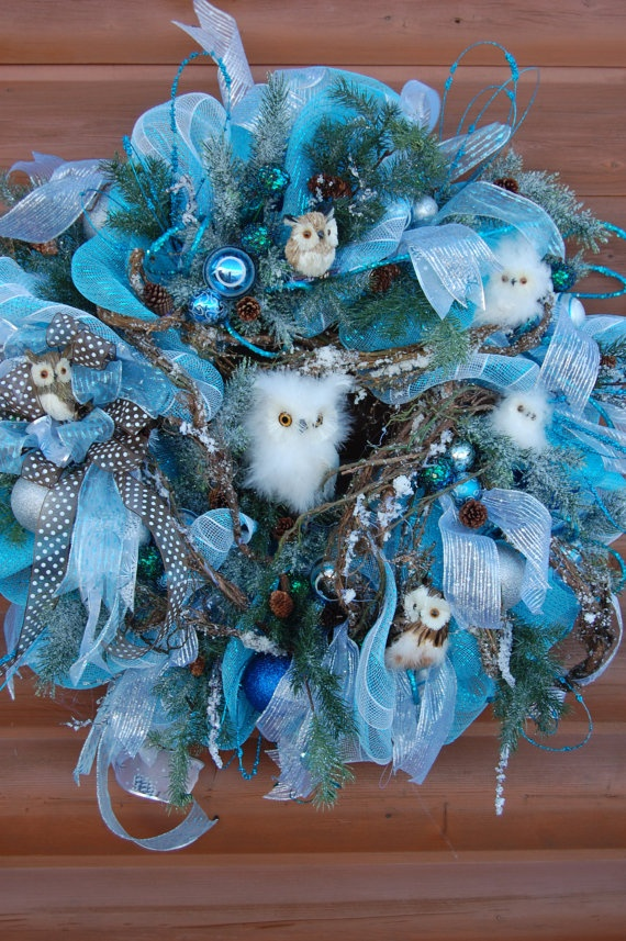 Silver and Blue Deco Mech Christmas Wreath with by HangingTouches, $198.00 | Wreaths, Garlands ...