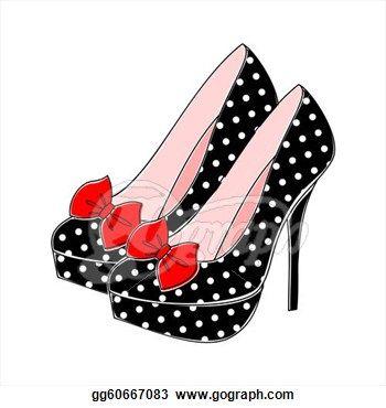 drawing of high heel shoes | Stock Illustration - Polka Dot High Heels. Clipart Drawing gg60667083