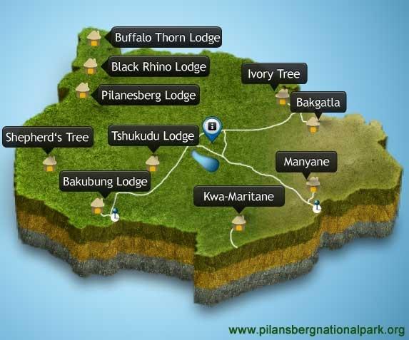 Pilanesberg Accommodation Map & info