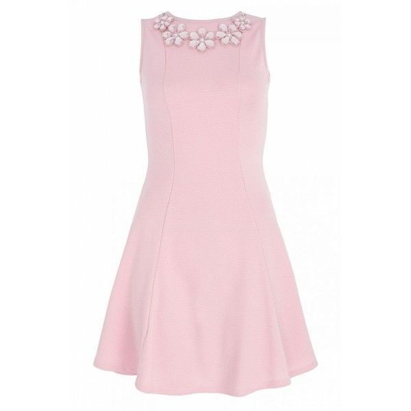 Pastel Pink Textured Necklace Dress ($28) ❤ liked on Polyvore featuring dresses, vestidos, pastel dresses, pink dress, quiz dresses, textured dress and pink day dress