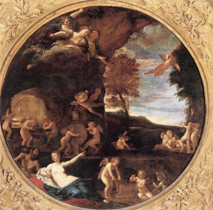 ALBANI, Francesco Summer (Venus in Vulcan's Forge) 1616-17 Oil on canvas, diameter 154 cm Galleria Borghese, Rome