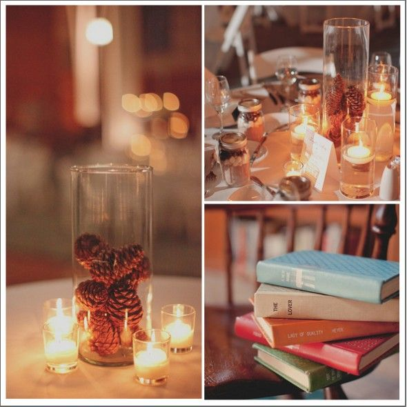 Rustic Centerpiece-@Brittany Fulton-tall hurricane vase with pinecones maybe set next to the lantern on the wood round with greens?