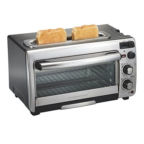 Hamilton Beach 31156 2-in-1 Oven and Toaster, Stainless Steel:   Unclutter your counter with the Hamilton Beach 2-in-1 oven and toaster. This unique combo lets you cook personal-sized pizzas with a tender, crispy crust and toast bread evenly in 40% less time than a traditional toaster oven.