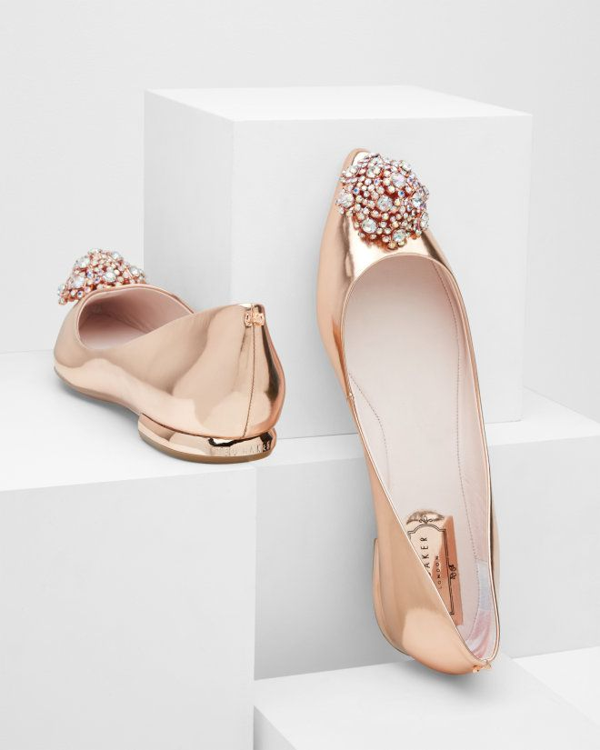 Embellished pointed toe flats - Rose Gold | Footwear | Ted Baker UK