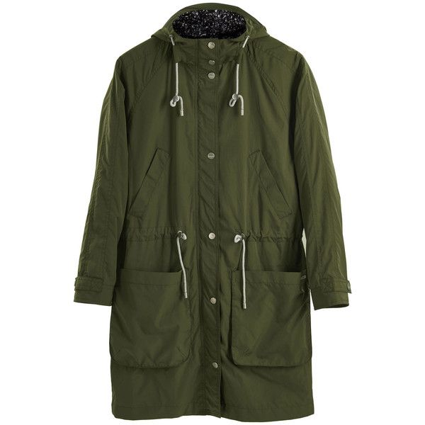 PARKA LONDON Dana Parka - Khaki ($195) ❤ liked on Polyvore featuring outerwear, coats, khaki, khaki parka, green coat, green hooded parka, long lightweight coat and green parka coat