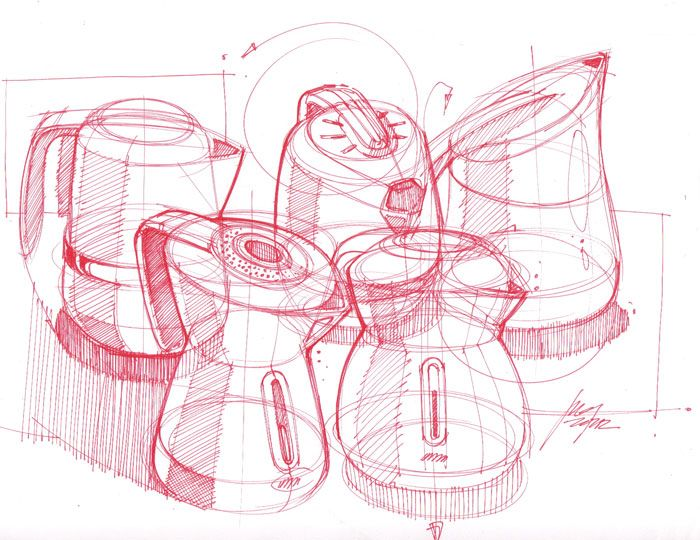 Sketches of Electric Kettles by Designer Spencer Nugent