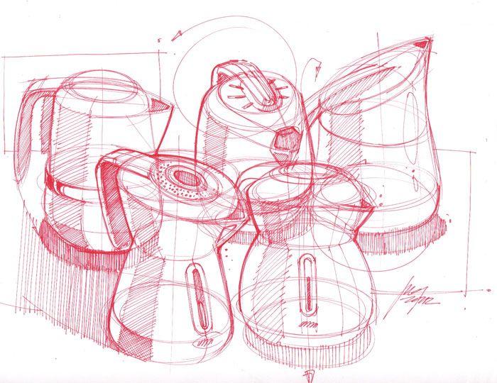 Sketches of Electric Kettles by Designer Spencer Nugent