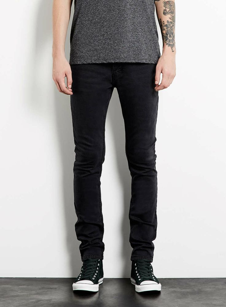 Washed Black Stretch Skinny Jeans - Men's Jeans - Clothing ...