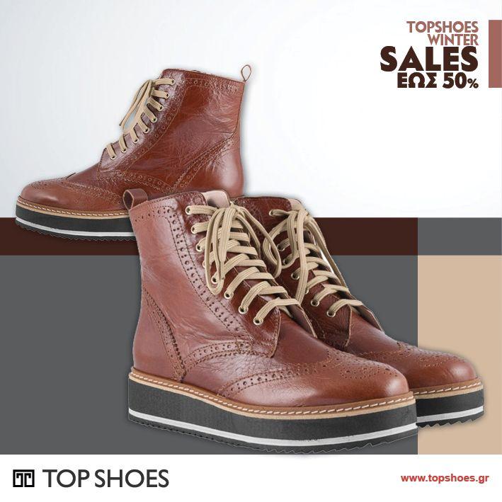 Ετοιμαστείτε για... Extreme Sales shopping στο Topshoes!!!  Φανταστικό δερμάτινο μποτάκι Oxford style με έκπτωση 20%, για το απόλυτο androgynous look!  Ακόμα να το κάνεις δικό σου;