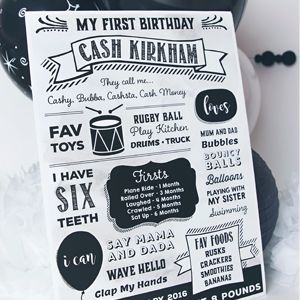 Monochrome Birthday Milestone Board from www.mintandmaplecollective.com.au