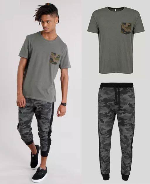 35ae714465b Look masculino com camiseta com bolso estampado e calça jogger de moletom  camuflada.