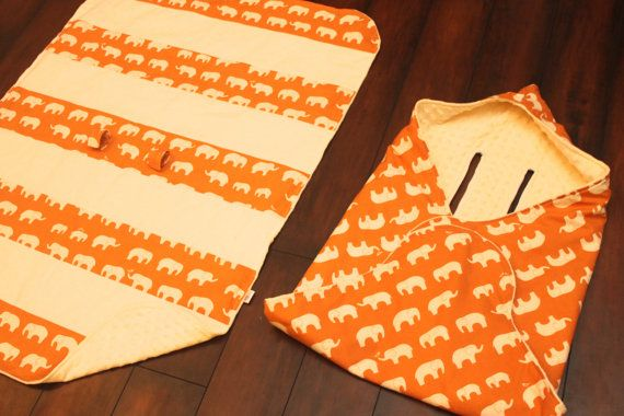 Infant car seat cover AND car seat blanket Orange by sydandstitch