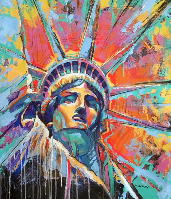 Abstract Painting  Statue of Liberty  New York  by DAMONDGRAY