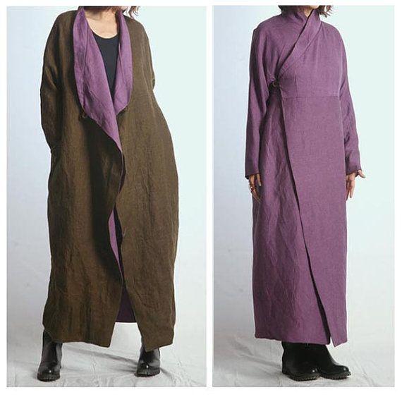 Boho Style long coat dress Linen 2 face wear for by ladymickey