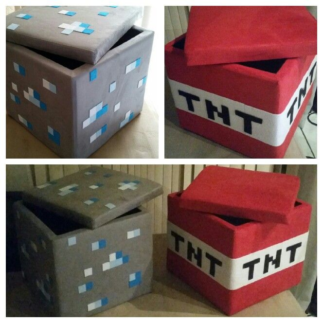 D.I.Y. minecraft ottomans that I made for my son's minecraft themed bedroom. Made by Billie.