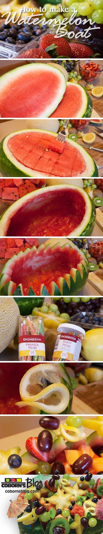 How to make a watermelon boat. Simple step by step instructions. www.cobornsblog.com