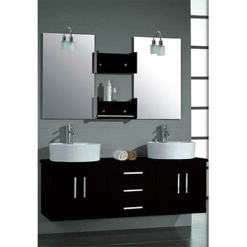 """Cambridge Plumbing Cambridge Plumbing Hematite 59"""" Wall Mount Double Bathroom Vanity Set"""