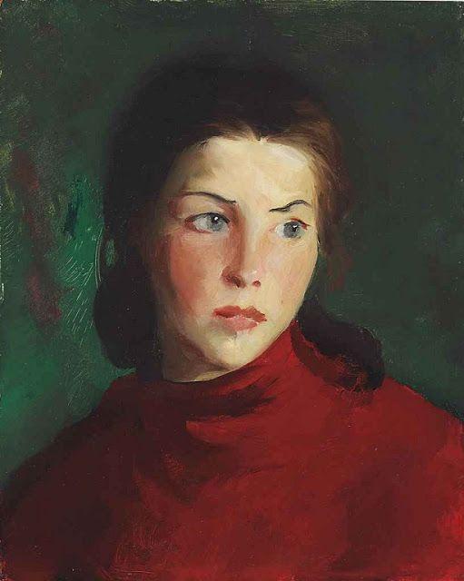 Robert Henri (amerikai, 1865-1929) - Irish Girl (Mary Lavelle), 1913 - Robert Henri írországi látogatása során az Achill-szigeten festette e művét. A csodálatos szemek, a száj és a sötét haj… egy elragadó példája azoknak a portréknak, amelyekről a művész ismert...