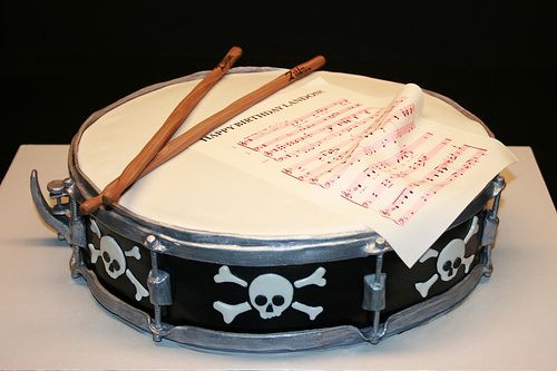Skulls Snare Drum 2nd Birthday Cake - a photo on Flickriver