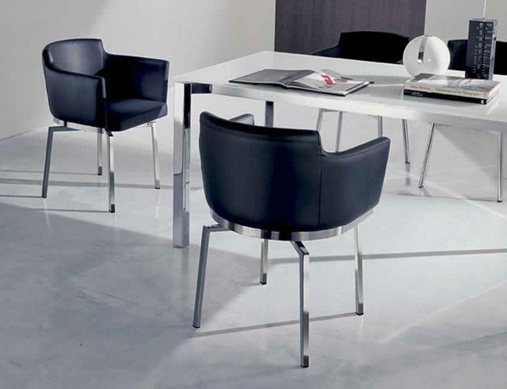 SWING, design: Studio Ozeta Metal frame swivel armchair with soft leather covering.www.ozzio.com