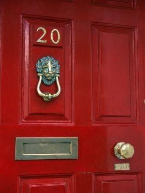 A Red Front Door With A Great Lionu0027s Head Door Knocker! Similar Door  Furniture From