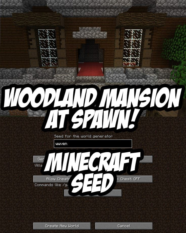 Woodland Mansion at Spawn. Seed:wwven (Minecraft 1.11+)
