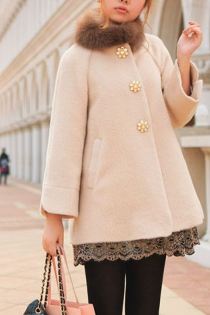 Rhinestone Button Cropped Sleeve Wool-blend Coat with Removable Fox Collar