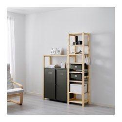 IVAR, 2 section shelving unit w/cabinet, pine, gray