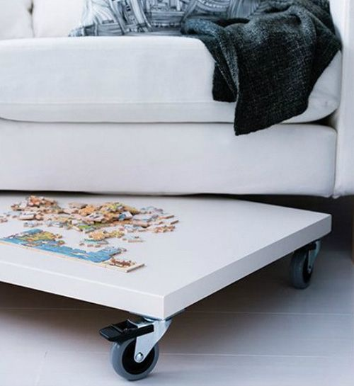 This is a great idea if you have enough space under your couch or your bed.  Especially if you don't have a toddler who might find it and make a little puzzle mayhem.