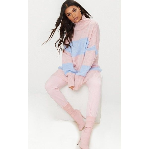 Pale Blue Stripe Oversized Knitted Jumper ($35) ❤ liked on Polyvore featuring tops, sweaters, pale blue, knit sweater, oversized knit sweaters, oversized striped sweater, oversized sweaters and pastel pink sweater