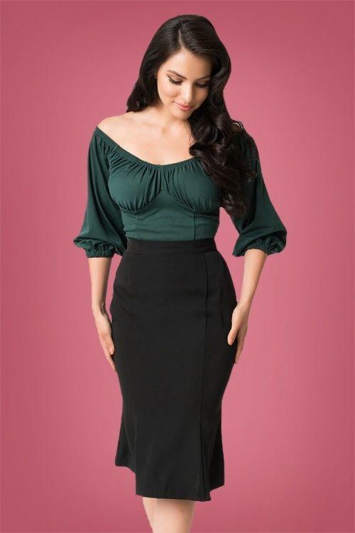 8673913dab4 Micheline Pitt for Unique Vintage Sassefras Black Pencil Skirt 120 10 26749  20180813 03