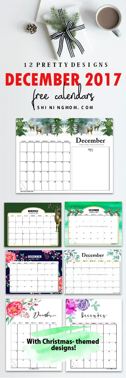 Grab these FREE December 2017 calendar printables to plan your Christmas! They come in lovely Christmas themes! #ChristmasCalendar #DecemberCalendar #December2017calendar