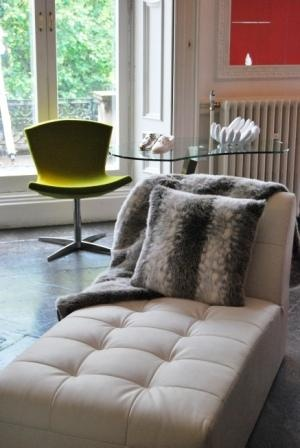 Adding some faux fur makes this chaise even more luxurious.