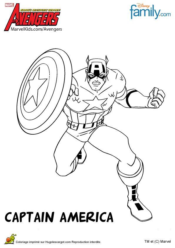 coloriage de captain america dans avengers avec son bouclier