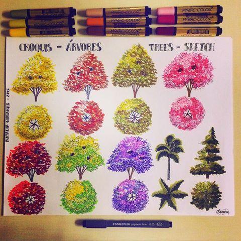 Trees Sketch ☺️ #art #arte #arquitetura #architecture #trees #arvores #arboles #colorido #colorful #croqui #sketch #markers #marcadores #instacute #instalike #instalove #drawing #desenho #dibujo