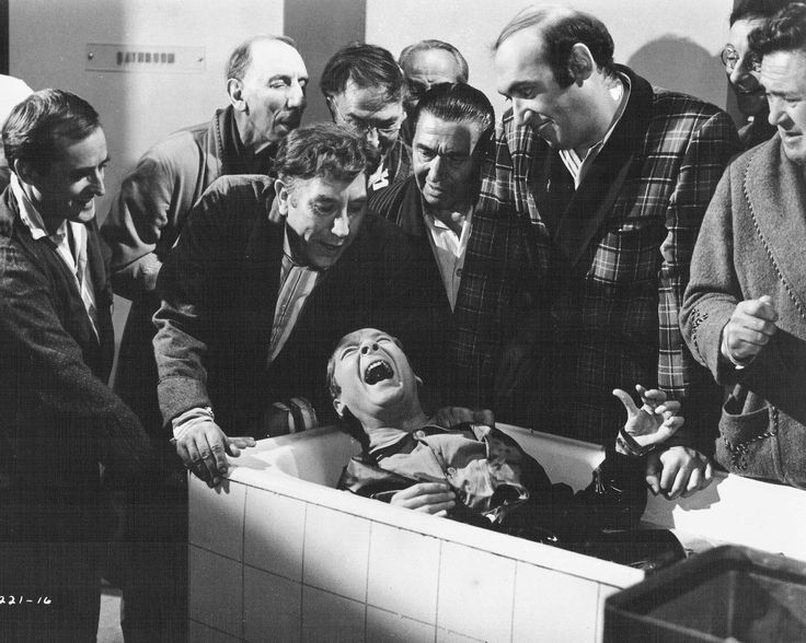 Frankie Howerd, Kenneth Williams, Bernard Bresslaw, Charles Hawtrey and Peter Butterworth in Carry On Doctor. 1967